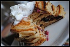 Whole wheat Blueberry sour cream pancakes - yum. Making this weekend.