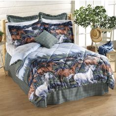 Mountain Run Bed in a Bag - Horse Themed Gifts, Clothing, Jewelry and Accessories all for Horse Lovers Western Bedding, Bedding Set, Bed Decor, Horse Bedding, Bed, Home, Twin Size Comforter, Cabin Furniture, Bedding Sets