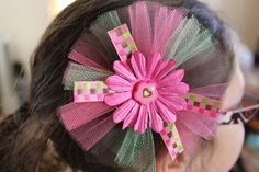 brown, pink and green headband