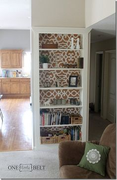 Kilee from One Little Momma stenciled her bookshelves backing with our Chez Sheik stencil!