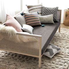 Bonus room: The perfect setting for siestas. Designed by Mermelada Studio in Spain, our Boho Daybed approaches sofa styling with the relaxed comfort of a bed. Daybed Couch, Rattan Daybed, Daybed Room, Daybed Mattress, Mattress Covers, Daybeds, Daybed In Living Room, Diy Daybed, Daybed Ideas