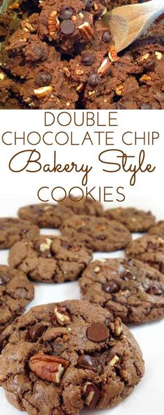 Bakery Style Chocolate Chocolate Chip Cookies are crunchy on the outside, chewy on the inside. Chock full of dark chocolate chips, pecans and cocoa. Yummers!