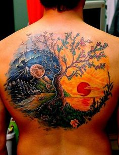 Colored Nature Tattoo On Back