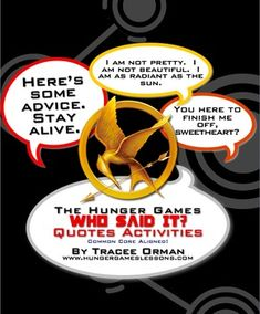 The Hunger Games Quotes Game, Activity, and Handouts for Analysis - This is a fun, engaging way to review and discuss The Hunger Games novel. hunger game, librari, popular books, quot, teen book activities