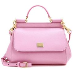 Dolce & Gabbana Sicily Mini Leather Shoulder Bag ($1,530) ❤ liked on Polyvore featuring bags, handbags, shoulder bags, pink, mini purse, pink leather handbags, mini leather handbags, shoulder hand bags and pink purse