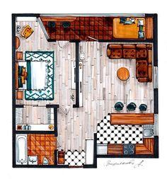 Скетч-план интерьера нашей выпускницы Александры Вишняковой @vishna_a #interiordesign #interiorsketch #sketchplan #interior #markersketch…