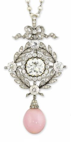 A BELLE EPOQUE CONCH PEARL AND DIAMOND PENDANT NECKLACE, CIRCA 1905. The central old-cut diamond weighing approximately 4.44 carats, within a single-cut diamond border, to a similarly-set diamond foliate surround with four old-cut diamond collets, suspending a conch pearl drop with a later single-cut diamond cusp, to the openwork single-cut diamond bow surmount and fine link seed pearl chain, pendant detachable. #BelleÉpoque