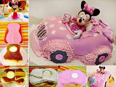 Cute Minnie Mouse in a car cake.  The Whoot has the best ideas