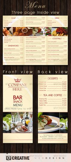 design menus on pinterest menu template modern restaurant and men. Black Bedroom Furniture Sets. Home Design Ideas