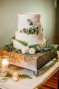 Fern-Accented, Combed Buttercream Wedding Cake | EMILY WREN PHOTOGRAPHY | FEAST YOUR EYES | http://knot.ly/6492B0JCi |  http://knot.ly/6493B0JCc