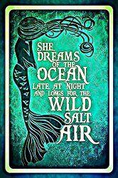 Mermaid Dreams Metal Sign Made In Hawaii $14.99 www.mermaidhomedecor.com - Mermaid Signs (1)