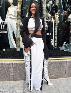 Rihanna Fenty Puma black white kimono crop top, tear away track pants, lace-up…