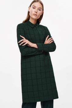 COS image 2 of Checked shirt dress in Bottle Green