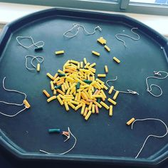 A really easy finger gym set up today using pasta tubes and threading necklaces.always an easy win! Fine Motor Activities For Kids, Eyfs Activities, Nursery Activities, First Day Of School Activities, Motor Skills Activities, Infant Activities, Fine Motor Skills, Physical Education Lessons, Physical Development
