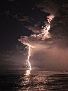 Dramatic Lightning - Clouds, Ocean, Night Sky - Photography by Chris Dakota - Lightning Bolt, Tentacles, Ominous, Striking, Wallpaper on Etsy, $5.00