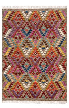 Aztec Multi Coloured Diamond Handloom Kilim Rug 180cm x 270cm. A bold vibrant triangular geometric pattern multi-diamond rug. Handloomed using traditional techniques the high wool content allows vibrancy and depth of colour and also allows greater detail to be incorporated into the design of this kilim rug.