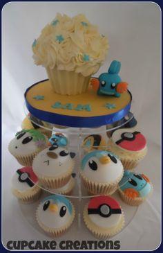Pokemon mini giant cupcake and matching cupcakes