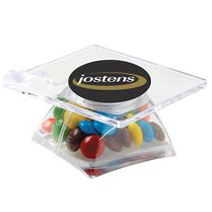 Graduation Cap Container / Chocolate Covered Candies - Mini candy coated chocolate pieces in a graduation cap shaped container. Advertising And Promotion, School Fundraisers, Food Gifts, Chocolate Covered, Graduation, Container, College, Cap, Candies