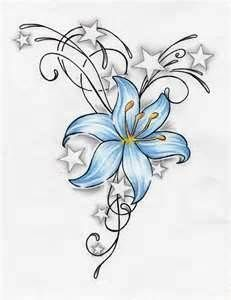 basic hand-drawn flower tattoo without the stars and an African Lilly instead.