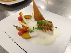 Add lecithin for a wonderful foaminess to strong-flavored sauces. Pistachio-crusted Chilean sea bass, saffron fingerling potatoes, white asparagus,  creamy lemongrass mousse, chervil crisp