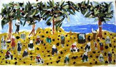 """1ο Νηπιαγωγείο Ηρακλείου Αττικής: Εικαστική δημιουργία εμπνευσμένη από τον πίνακα """"Το μάζομα των ελαιών εν Μιτυλήνη"""" Fall Is Here, Olive Tree, Crafts For Kids, Activities, Painting, Olives, Olive Oil, Babys, Autumn"""