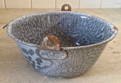 Enamel Ware, Oeuvre D'art, Decorative Bowls, Collection, Vintage, Gray, Iron, Objects, Enamel