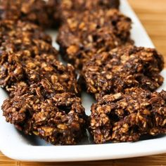 Fudgy Version of Sugar-Free and Flourless Chocolate and Oatmeal Cluster Cookies Recipe Desserts with rolled oats, splenda, cocoa powder, salt, vanilla, olive oil, egg whites, rolled oats, splenda, cocoa powder, salt, eggs, olive oil, agave nectar