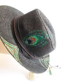 Make a scene! handpainted straw hat, unisex fedoras, good durability, fashion stylish & trendy lifestyle, wearable art by mademeathens Peacock Canvas, Painted Hats, Drawing Bag, Hat Decoration, Handmade Clutch, Diy Hat, Wearing A Hat, Love Hat, Hats For Women