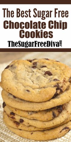 The Best Sugar Free Chocolate Chip Cookies! The best ever sugar free chocolate chip cookie reci Sugar Free Chocolate Chip Cookie Recipe, Sugar Free Cookie Recipes, Sugar Free Deserts, Sugar Free Baking, Sugar Free Sweets, Sugar Free Cookies, Sugar Free Biscuits, Chocolate Cookies, Sugar Free Diabetic Recipes