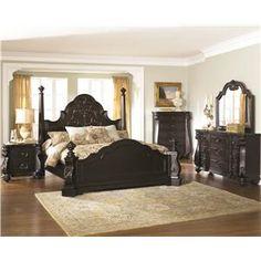 4 Piece Victorian Renaissance Cherry King Sleigh Bed Bedroom Set ...