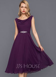[US$ 91.00] A-Line Cowl Neck Knee-Length Chiffon Cocktail Dress With Beading Sequins Chiffon, Nice Dresses, Formal Dresses, Custom Dresses, Autumn Summer, Cowl Neck, Dress Skirt, Perfect Fit, Swatch