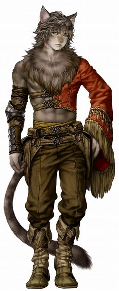 View an image titled 'Male Felpurr Artwork' in our Wizardry: Town of Imprisoned Spirits art gallery featuring official character designs, concept art, and promo pictures. High Fantasy, Fantasy Races, Fantasy Rpg, Fantasy Artwork, Fantasy Art Male, Anime Fantasy, Character Creation, Character Concept, Character Art