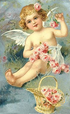 Magic Moonlight Free Images: Angels and old Cards! Valentine Cupid, Valentine Images, Vintage Valentine Cards, Vintage Greeting Cards, Vintage Ephemera, Vintage Holiday, Vintage Postcards, Vintage Sewing, Angel Flowers