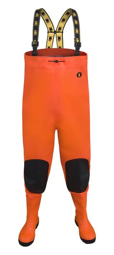 """WATERPROOF CHEST WADERS """"MAX S5"""" FLUO Model: SBM01 FLUO The chest waders have been produced with high quality PVC Safety boots S5 type welded in - steel toe cap and steel midsole. The model has elasticated braces, knee-protection and a belt for waist adjustment. Chest waders have been made on waterproof strong fabric Plavitex Heavy Duty Fluo. It's a good protection against water. The product is recommended to be used in every place where visibility is limited. High frequency welding makes…"""
