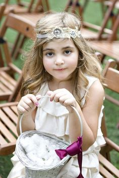 We love the applique headband and statement basket bow as unique touches to this #flowergirl ensemble