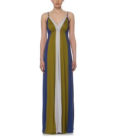 Look at this Elfe Oil & Indigo Color Block Maxi Dress on #zulily today!