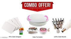 Dinnerware & Serving Pieces 1 PCS of Cake Turntable & 4 PCS of Cake Scrapers & 1 PCS of Icing Bag, 12 Pcs Nozzle Material: Plastic Pack: Pack of 1 Length: 15 cm Breadth: 1.5 cm Height: 14.5 cm Size (in ltrs): 4.5  Country of Origin: India Sizes Available: Free Size   Catalog Rating: ★4.3 (901)  Catalog Name: Unique Measuring Cups CatalogID_2005360 C136-SC1602 Code: 505-10864802-7221