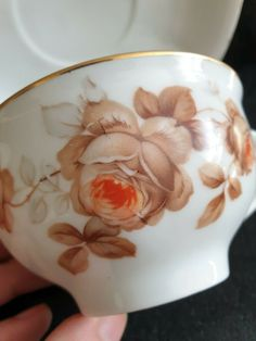 Antique Latvia Empire porcelain tea pair cup plate Imperial kuznetsov Kuznecovs #Empire #Kuznecovs