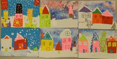 Kindergarten winter landscape collages
