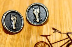 Vintage Button Earrings - Horse Face Studs by DalstonLane $15
