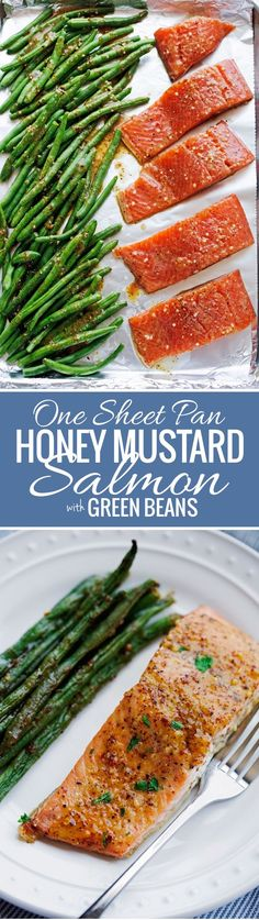 One Sheet Pan Honey Mustard Salmon with Green Beans - An easy weeknight dinner that's all baked in one pan! (Easy Baking Salmon)