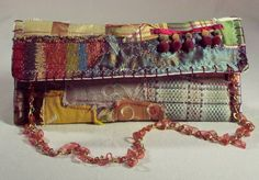 Lovely, Boho Chic, One-of-a-Kind, Hand-Made, Day or Evening Collage Fabric Clutch Purse via Etsy