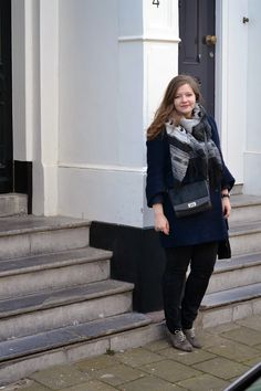 Winter vintage navy casual fashion blogger big scarf flats long hair curve plus size kiomi bag Normcore, Plus Size, Flats, Long Hair Styles, Navy, Big, My Style, Winter, Casual