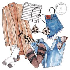 Good objects - Packing for Punta del Este like… a long sweater, a bikini… and some socks just in case…  #goodobjects #pde #illustration