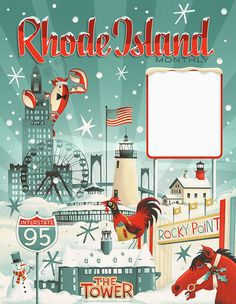 Rhode Island Monthly Holidays 2013 - I {heart} Rhody - Cool Posters, Travel Posters, Rhode Island History, Vintage Typography, Vintage Travel, Vintage Art, Rhodes, Graphic Illustration, Illustrations