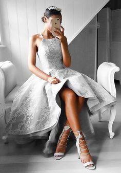 Silber Cocktaillkledier Vorne Kurz Hinter Lang A Linie Partykleider Abendkleider_Brautkleider,Abiballkleider,Abendkleider