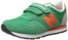 New Balance KE420 Hook and Loop Running Shoe (Little Kid),Green/Orange