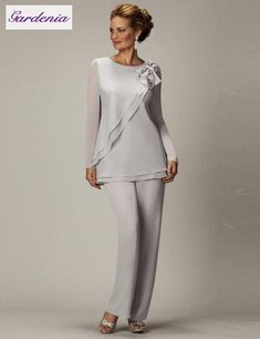2014 Sliver New Arrival Jewel Vestidos Formales Chiffon Three Pieces Long Mother Of the Bride Suit Pants Evening Dress Mother Of The Bride Suits, Mother Of Groom Dresses, Mothers Dresses, Mother Bride, Mob Dresses, Plus Size Dresses, Formal Dresses, Bride Dresses, Halter Dresses