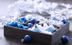 Download wallpapers Blue Christmas decorations, New Year, wooden box, blue Christmas balls