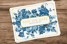 Custom Printable Floral Save the Date  Navy by SmittenHouseStudio